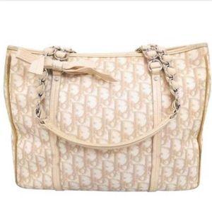 Christian Dior White Logo Mono Leather Barrel Bag